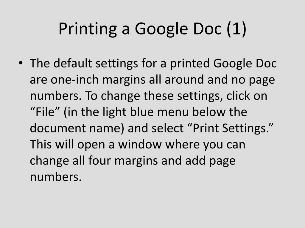Printing a Google Doc (1)