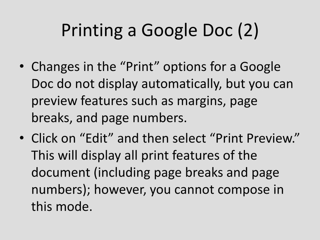 Printing a Google Doc (2)