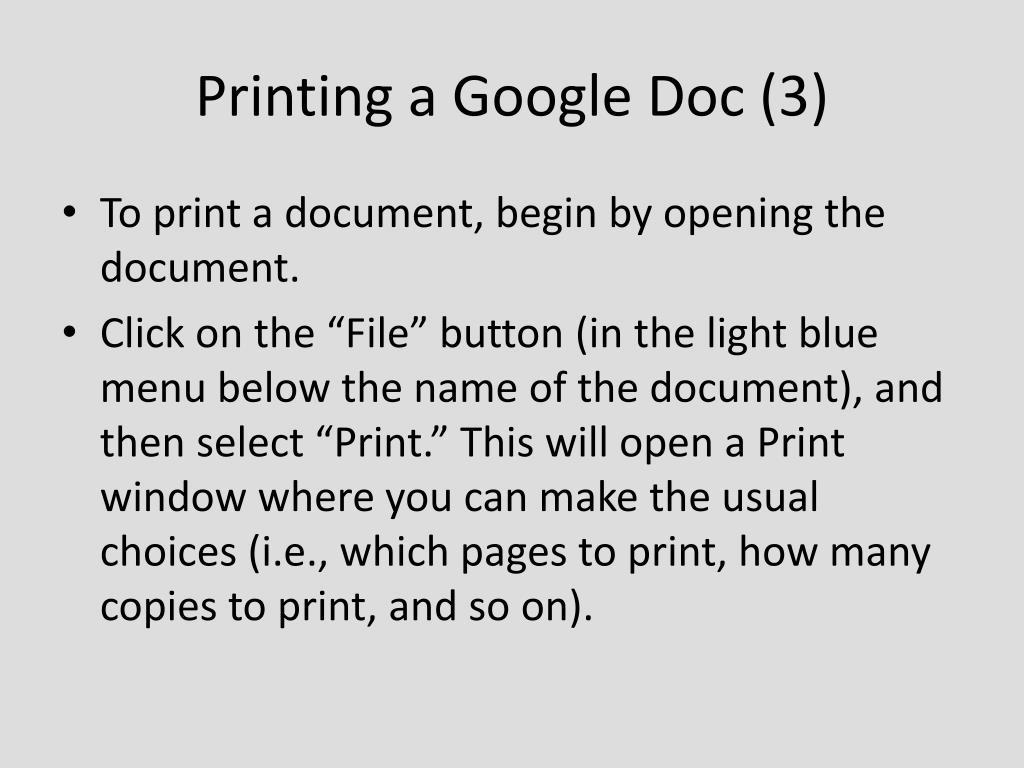 Printing a Google Doc (3)