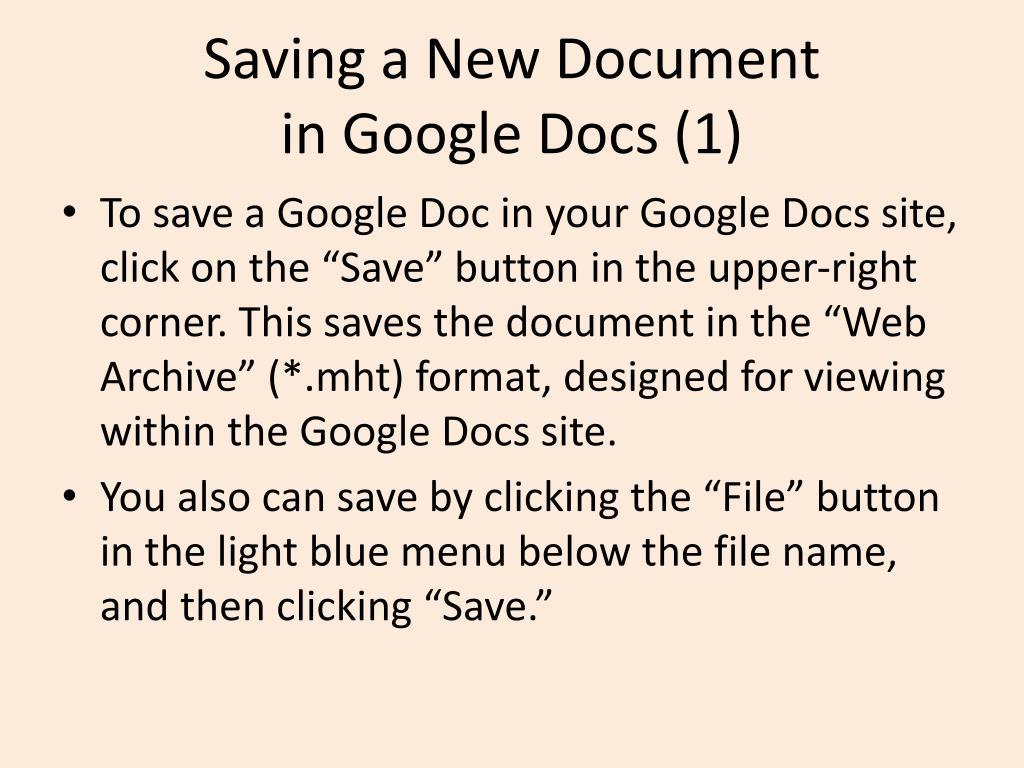 Saving a New Document