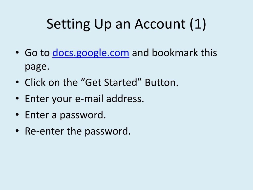 Setting Up an Account (1)