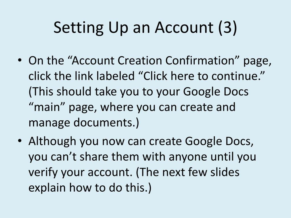 Setting Up an Account (3)