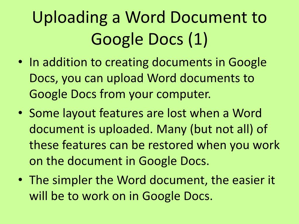 Uploading a Word Document to Google Docs (1)