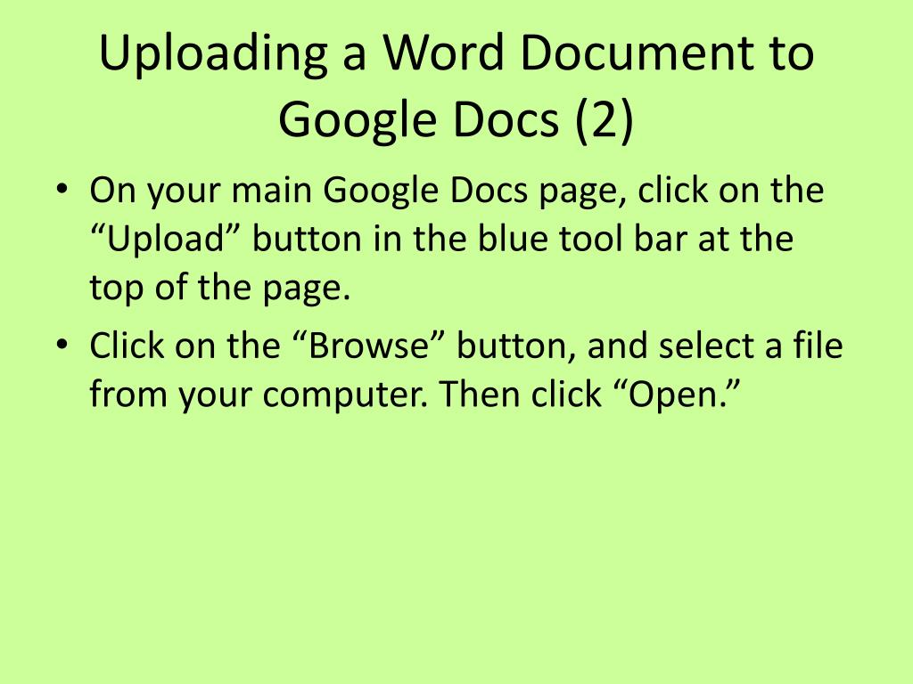 Uploading a Word Document to Google Docs (2)