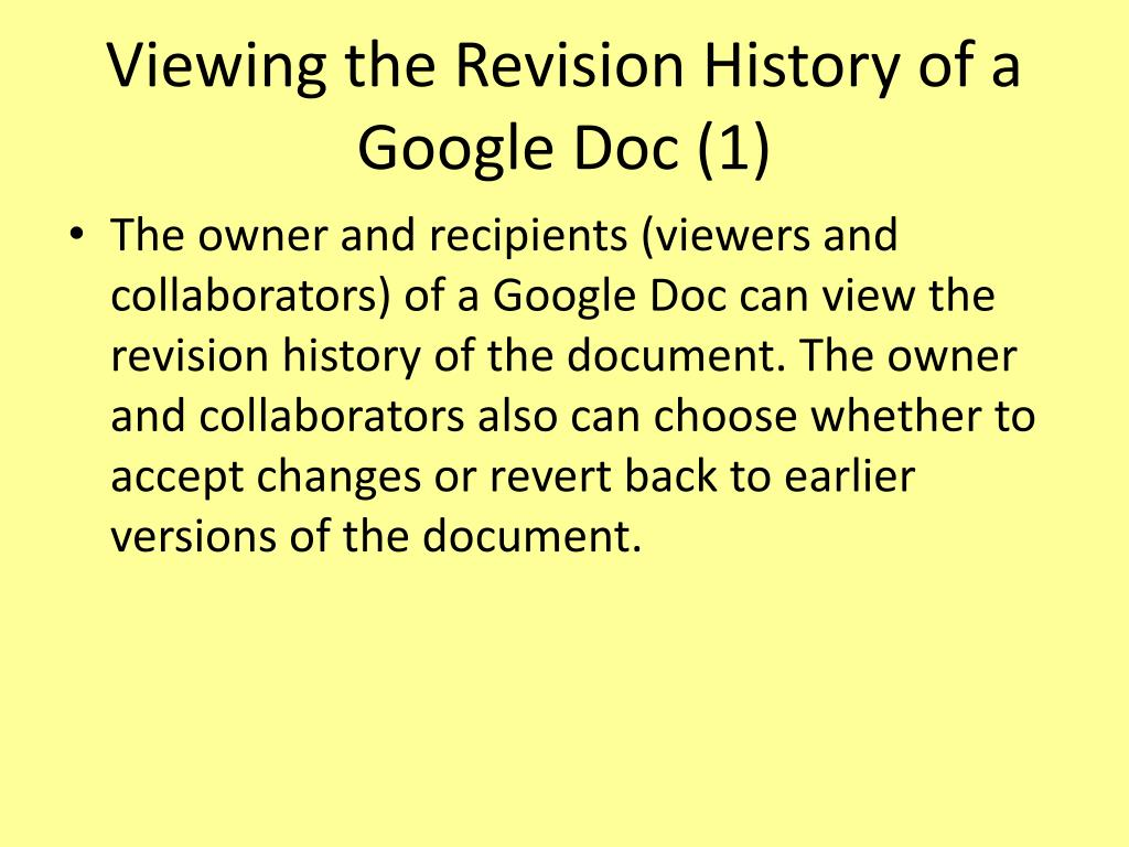 Viewing the Revision History of a Google Doc (1)