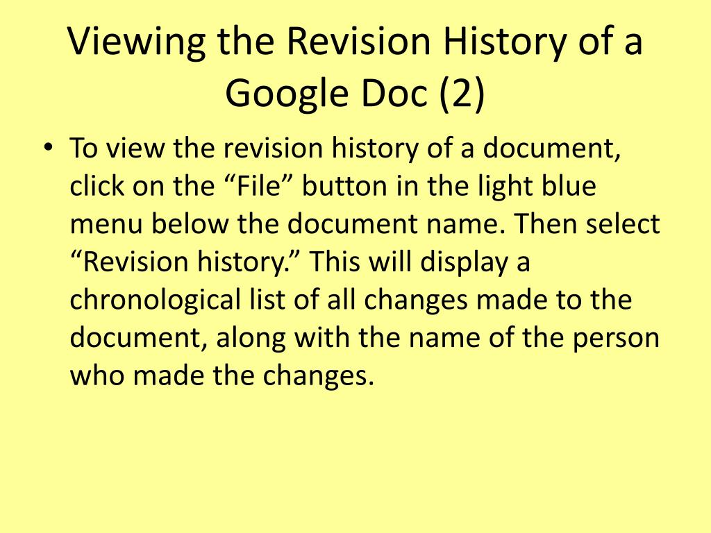 Viewing the Revision History of a Google Doc (2)