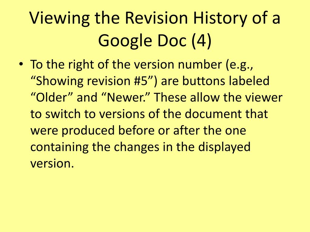 Viewing the Revision History of a Google Doc (4)
