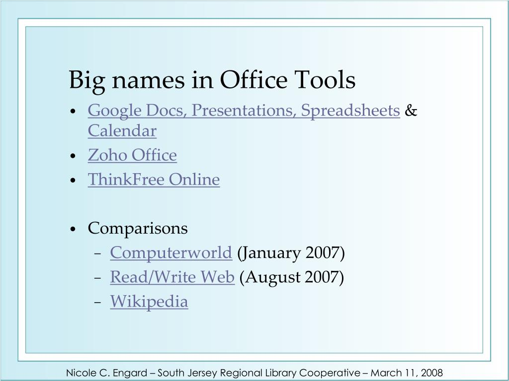 Big names in Office Tools