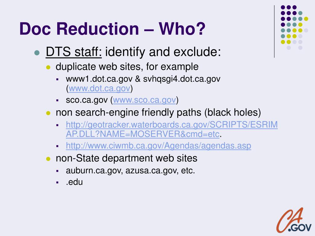 Doc Reduction – Who?