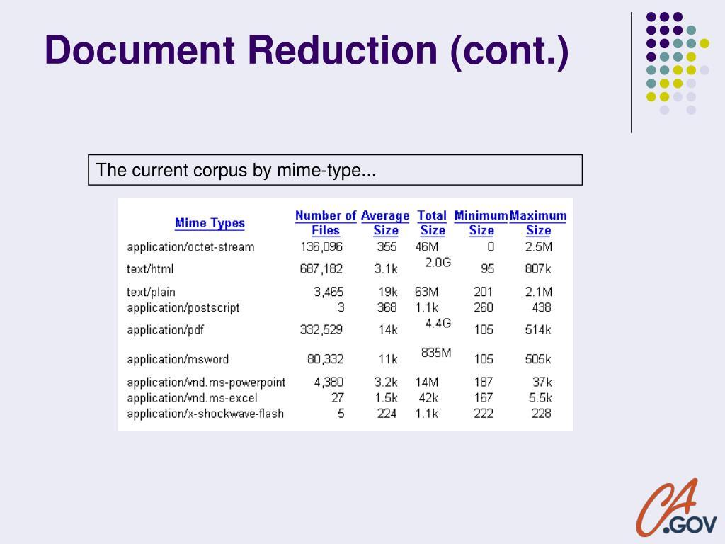 Document Reduction (cont.)