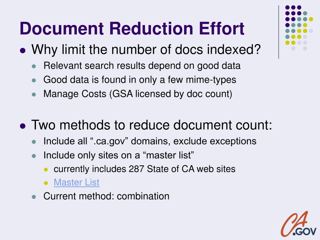 Document Reduction Effort