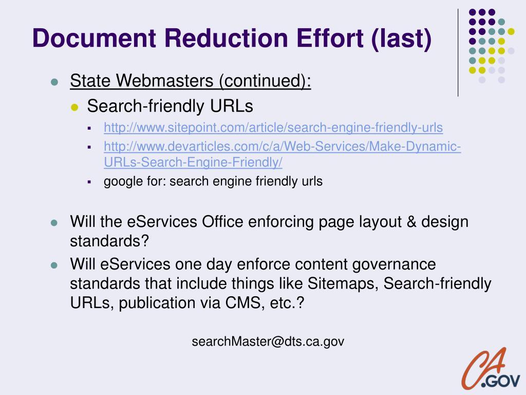 Document Reduction Effort (last)