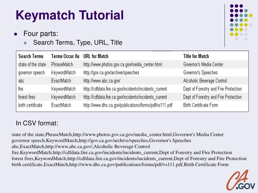 Keymatch Tutorial