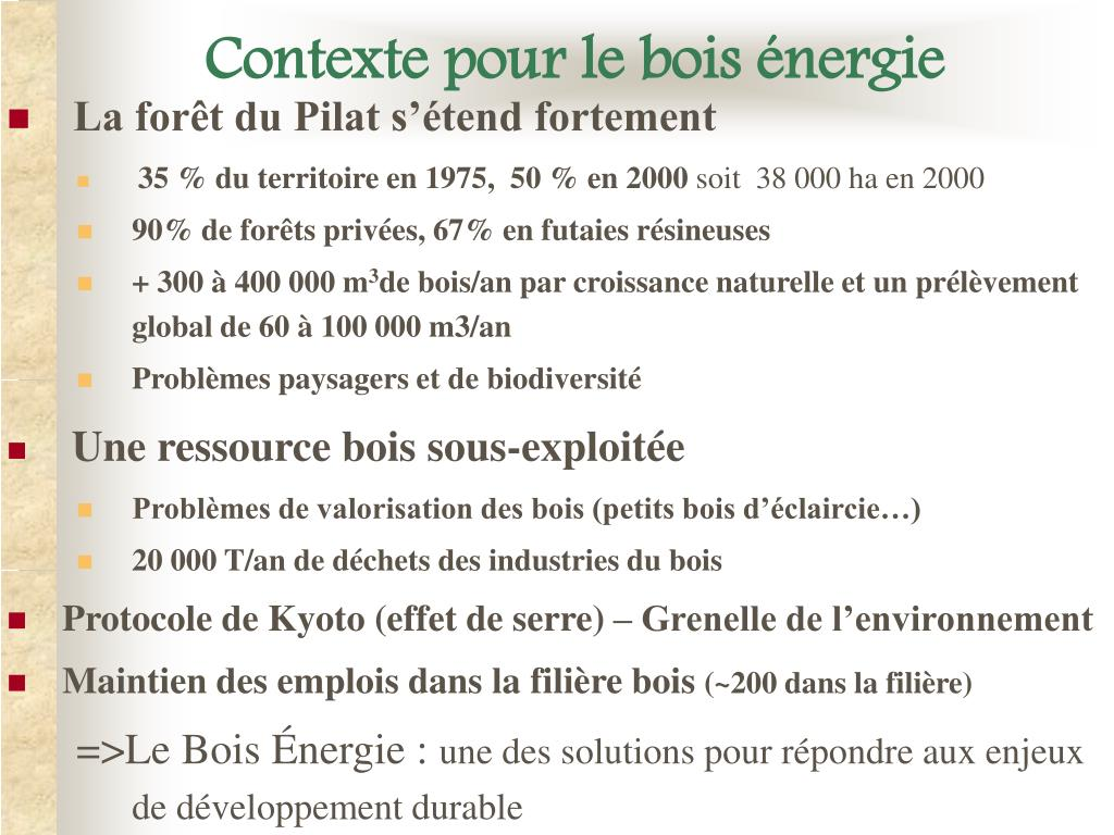 Contexte pour le bois énergie