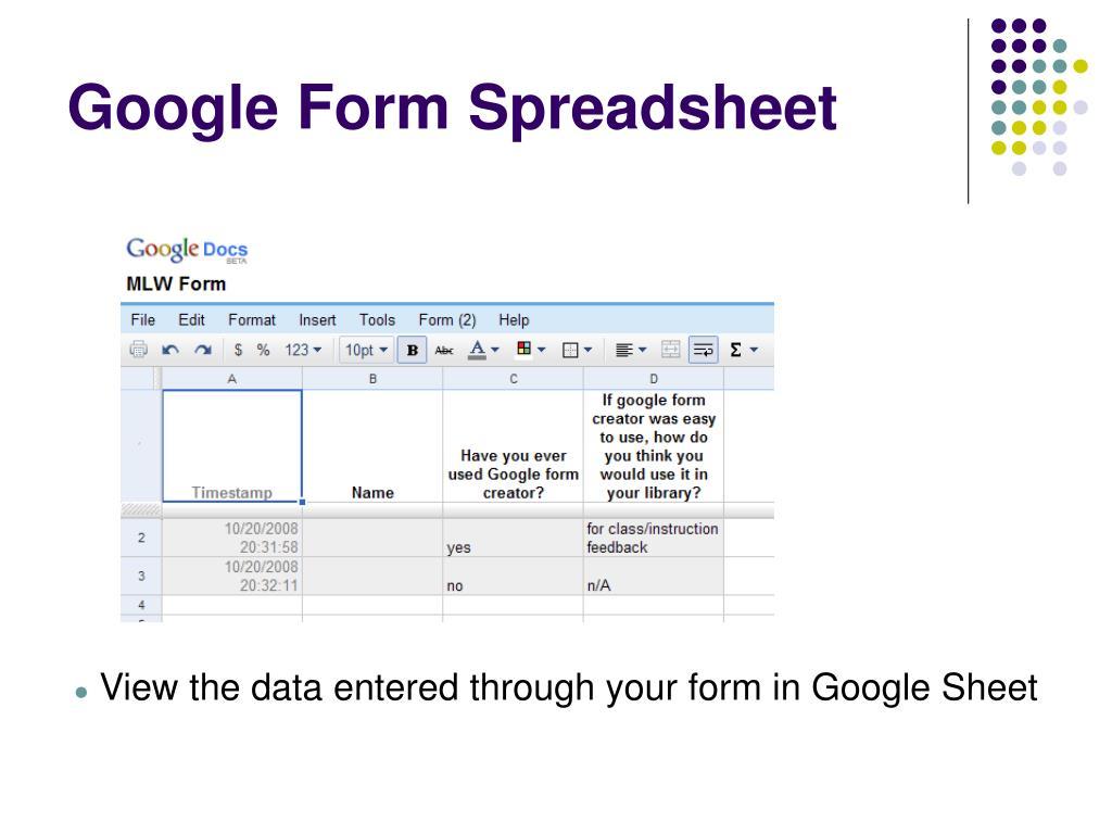 Google Form Spreadsheet
