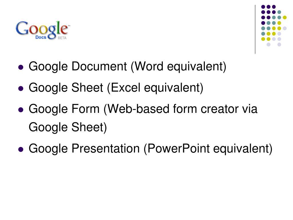 Google Document (Word equivalent)