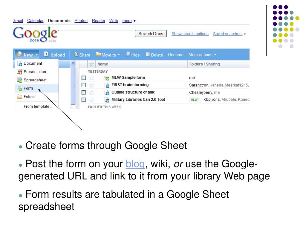 Create forms through Google Sheet