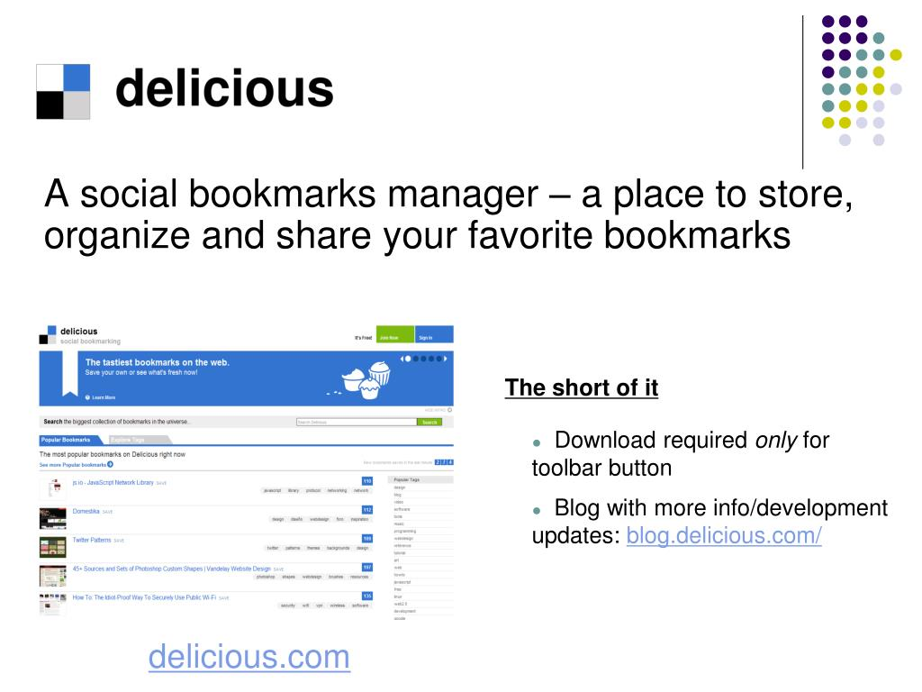 A social bookmarks manager – a place to store, organize and share your favorite
