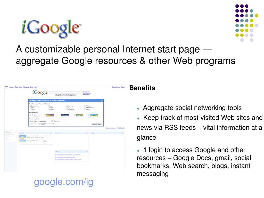 A customizable personal Internet start page