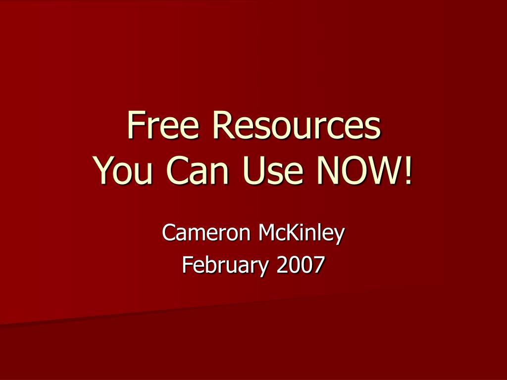 free resources you can use now