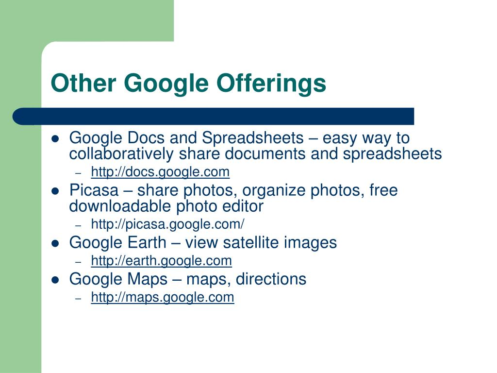 Other Google Offerings