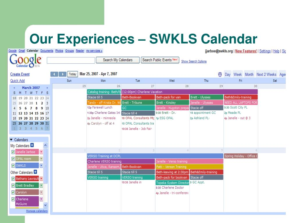 Our Experiences – SWKLS Calendar