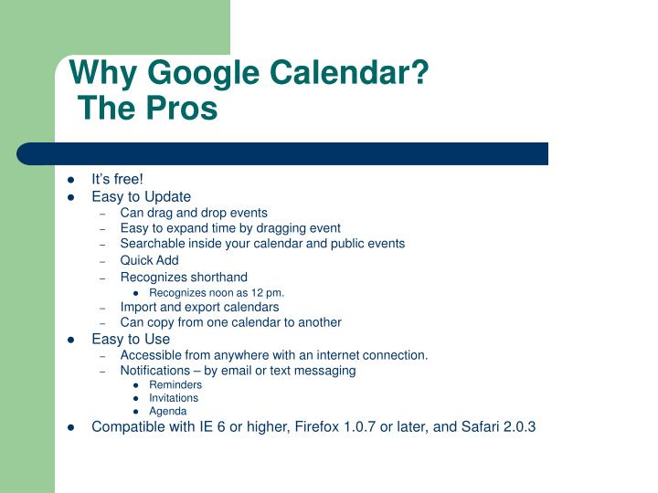 Why google calendar the pros