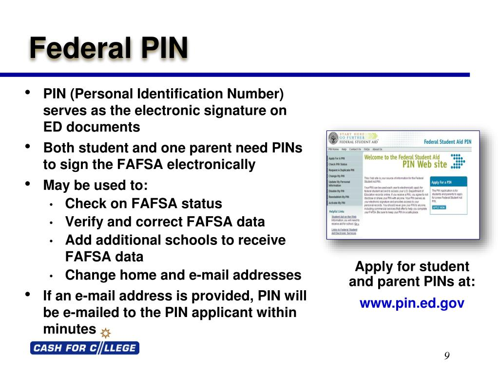 PIN (Personal Identification Number) serves as the electronic signature on     ED documents