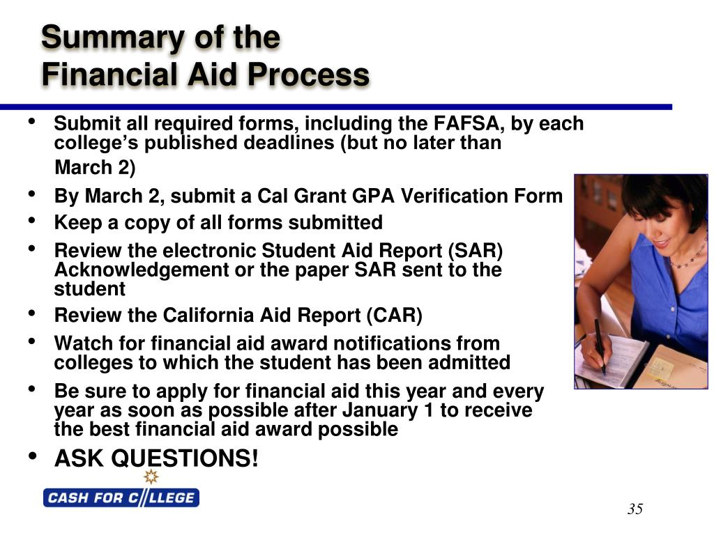 Submit all required forms, including the FAFSA, by each college's published deadlines (but no later than