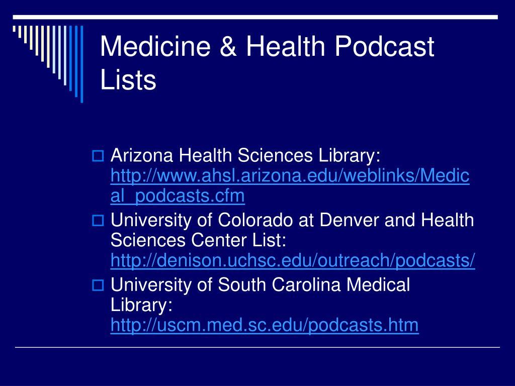 Medicine & Health Podcast Lists