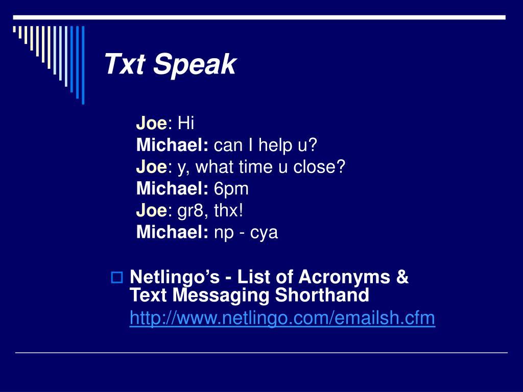 Txt Speak