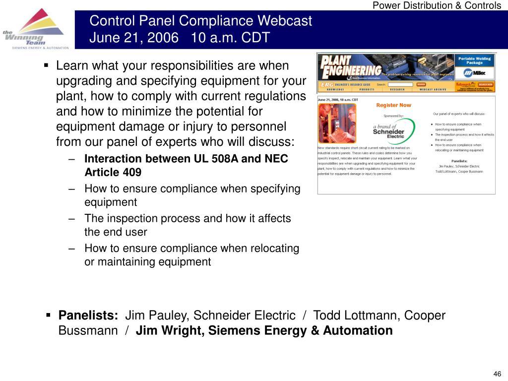 Control Panel Compliance Webcast