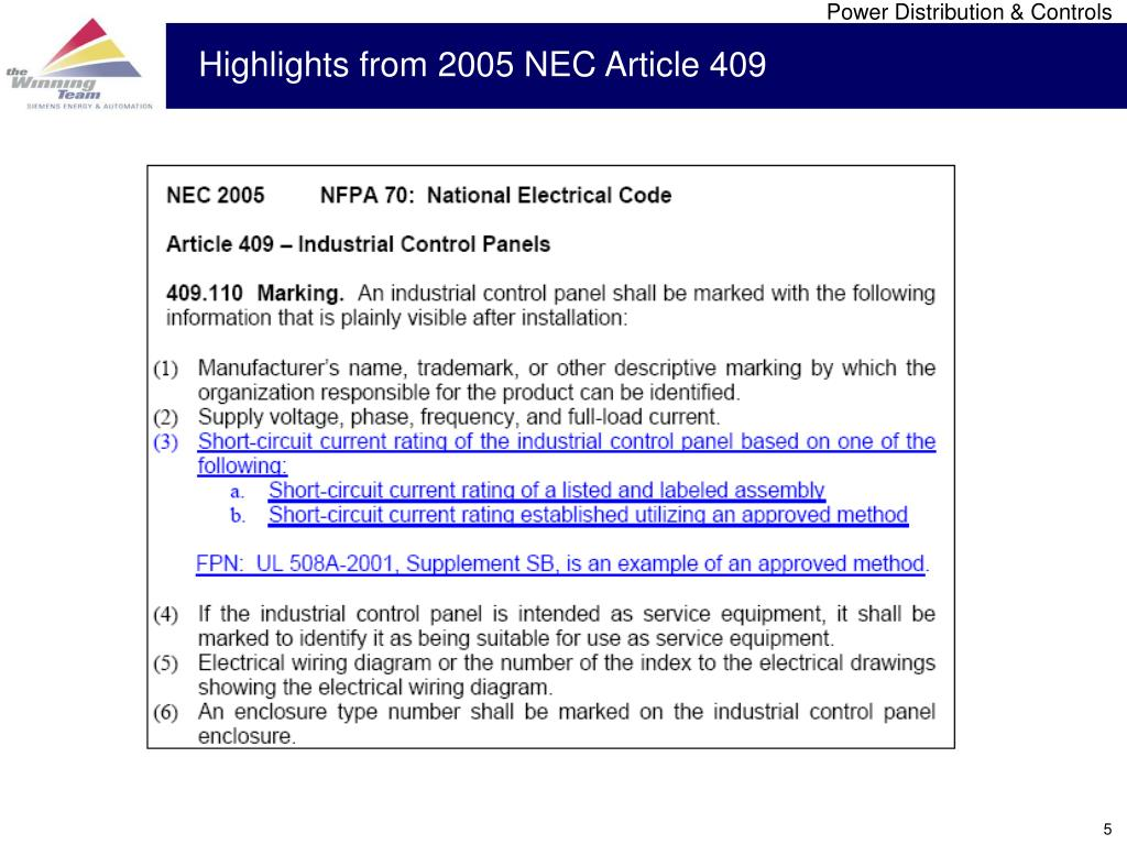 Highlights from 2005 NEC Article 409