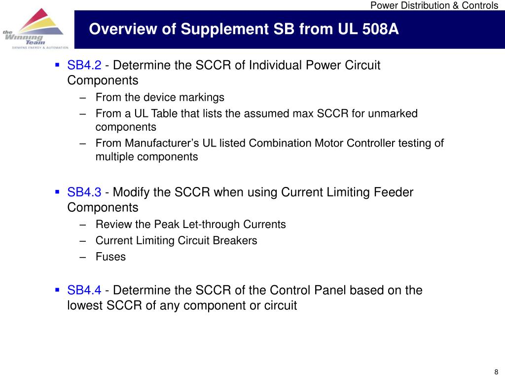 Overview of Supplement SB from UL 508A