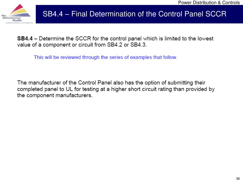 SB4.4 – Final Determination of the Control Panel SCCR