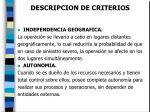 descripcion de criterios