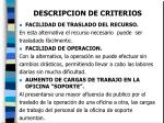 descripcion de criterios16