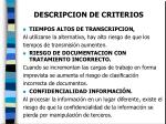 descripcion de criterios19