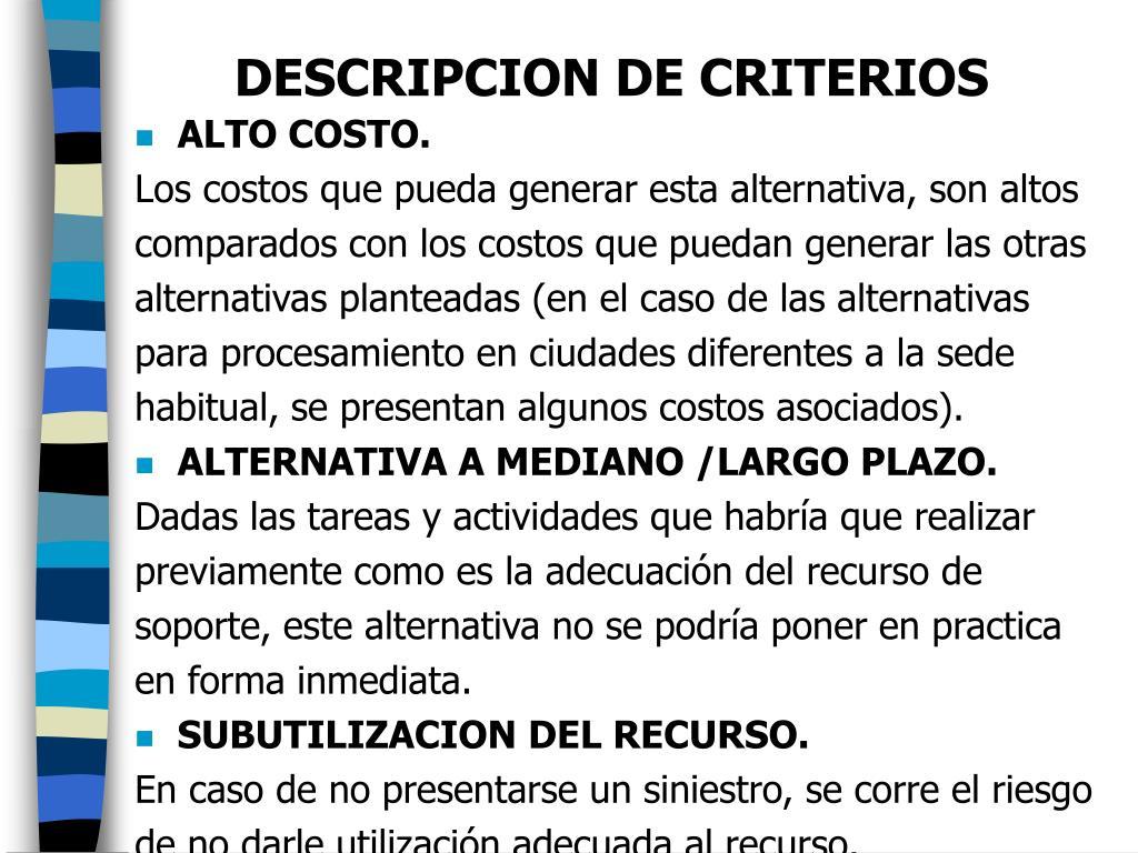 DESCRIPCION DE CRITERIOS