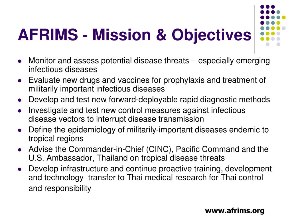 AFRIMS - Mission & Objectives