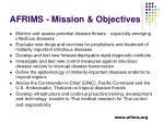 afrims mission objectives