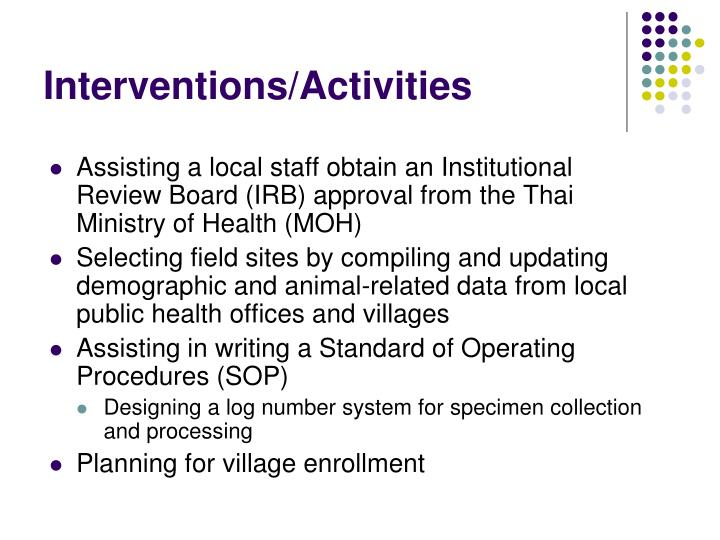 Interventions activities