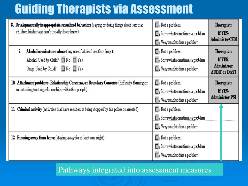 Guiding Therapists via Assessment