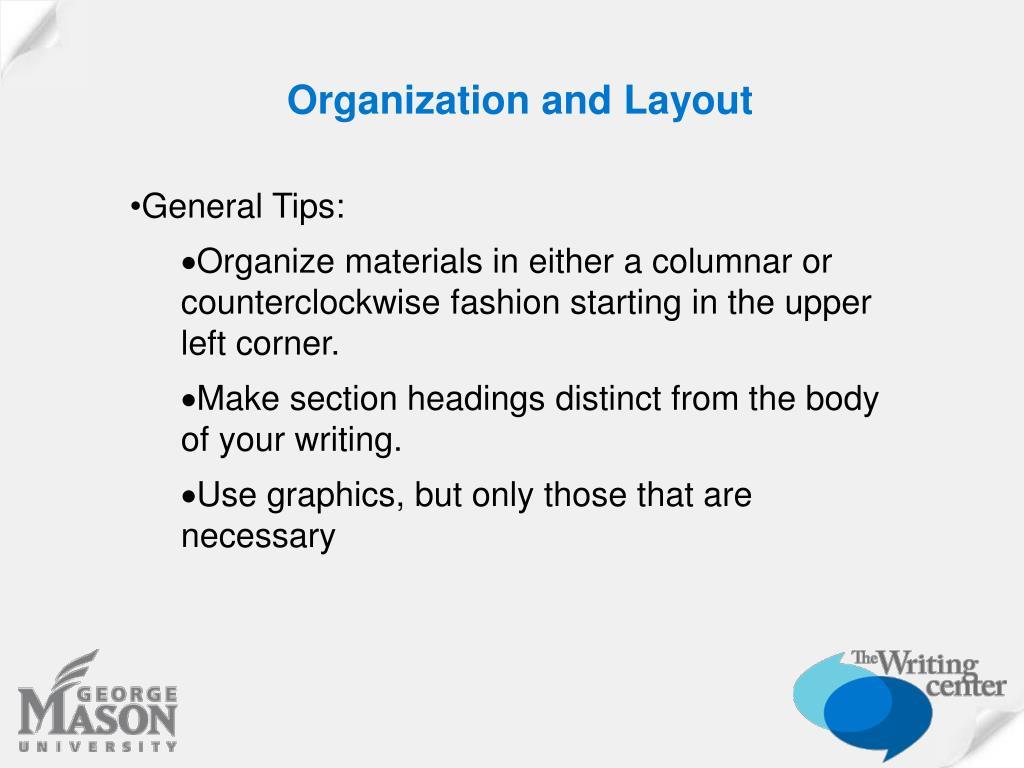Organization and Layout