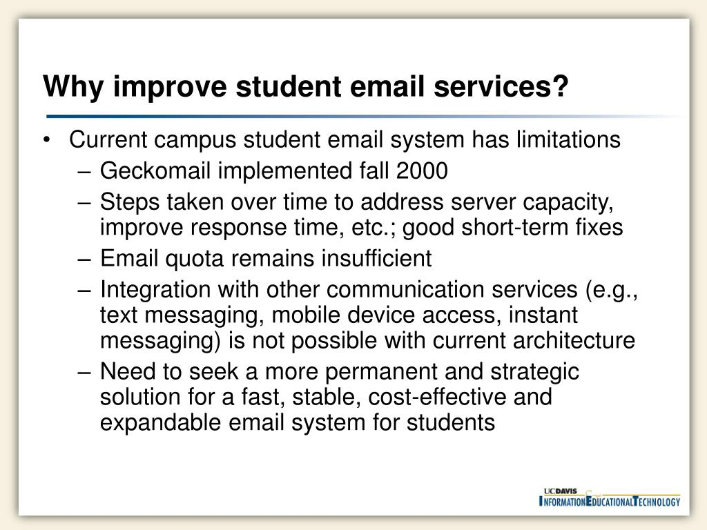 Why improve student email services?