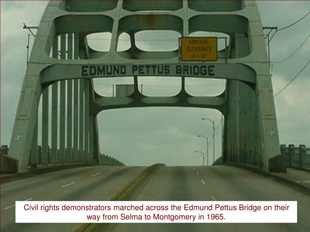 Civil rights demonstrators marched across the Edmund Pettus Bridge on their way from Selma to Montgomery in 1965.