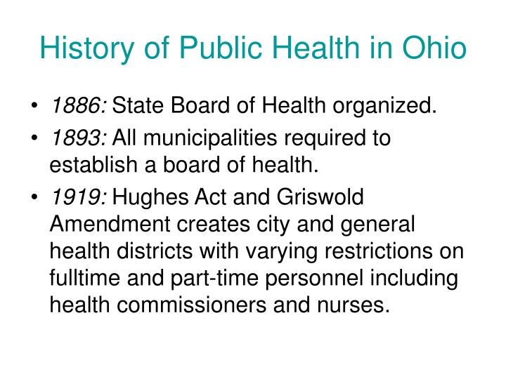 History of Public Health in Ohio