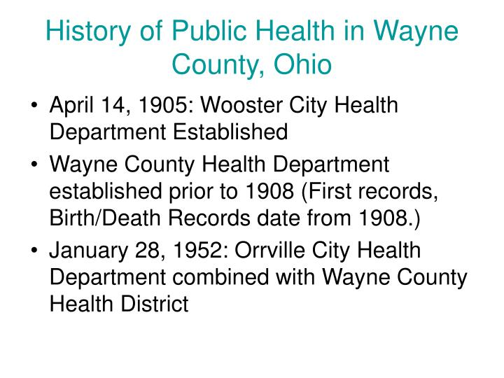 History of Public Health in Wayne County, Ohio
