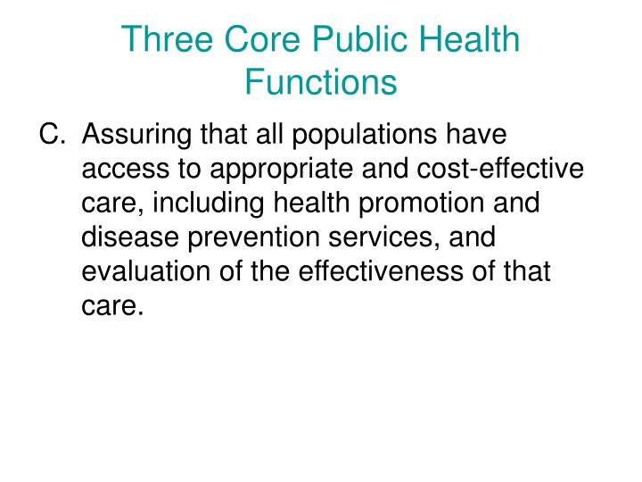 Three Core Public Health Functions
