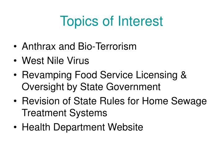 Topics of Interest